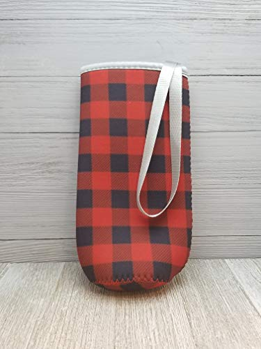 Red & Black Buffalo Plaid Neoprene Water Bottle Holder With Strap. Reusable, Insulated, Soft Sided, Collapsible Sleeve. Washable. ()