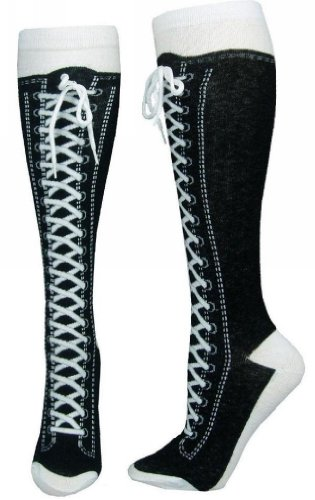 Sneaker Converse Black Novelty Shoe Knee High With Shoe Lace