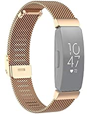 Watch strap Stainless Steel Metal Mesh Wrist Strap Watch Band for Fitbit Inspire/Inspire HR/Ace 2, Size: L (Black) (Color : Silver)