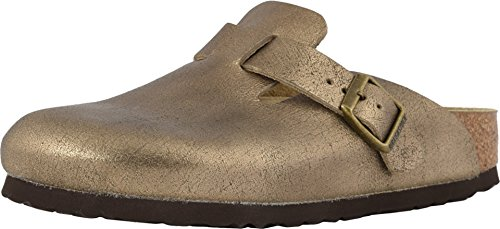 - Birkenstock Womens Boston Leather Clog, Washed Metallic Antique Gold, Size 37 N EU (6-6.5 N US Women)