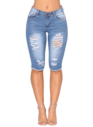 Azokoe 2018 Short Jeans for Women Juniors Summer Casual Stretch Mid Rise Pockets Denim Ripped Destroyed Bermuda Shorts Skinny Jeans ()