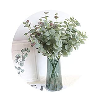 Elibone Inch Nordic Money Leaf Silk Artificial Flower Plant Home Garden Decor Wedding Green Wall Fake Flower Eucalyptus 30