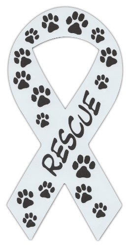 (Ribbon Shaped Magnets: Rescue (Dogs, Cats) Paw Design | Cars, Trucks, Support)