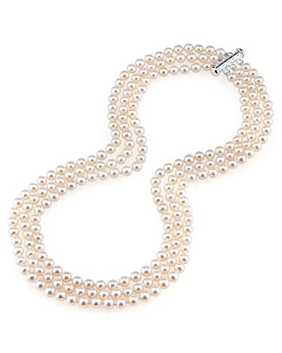 THE PEARL SOURCE 5.0-5.5mm AAAA Quality Triple Strand White Freshwater Cultured Pearl Necklace for Women in 18-19-20
