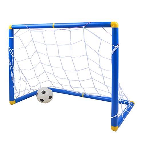 LEOO Sports Mini Soccer Goal a Pair- 90x60x47cm, 60x47x32cm- Includes Soccer Ball and Ball Pump (Size : 90x60x47cm) ()