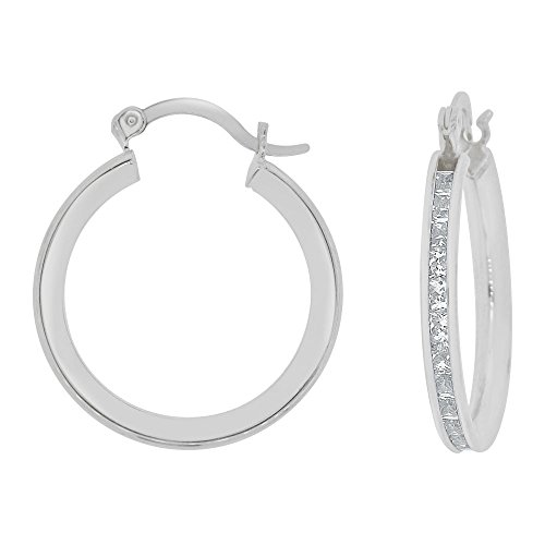 14k Gold White Rhodium, Round 3mm Wide Channel Set Created CZ Earring 16mm Inner Snap Down by GiveMeGold