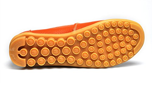 Cunzhai Kvinna Läder Loafers Rund Tå Flats Avslappnad Slip På Båt Skor Apelsin