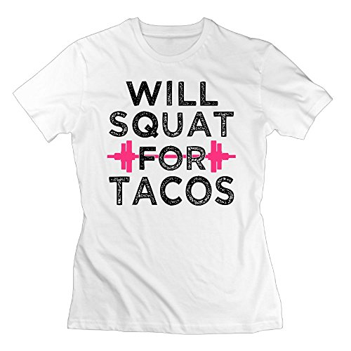 WuLion Will Squat For Tacos Women's Comfortable Short Sleeve T Shirt White L