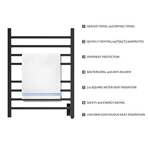 HEATGENE Hot Towel Warmer for Bath Heated Drying Rack 8 Square Bar Matte Black by HEATGENE (Image #5)