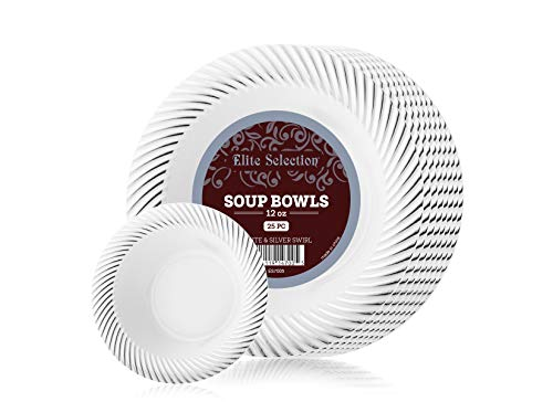 Elite Selection Pack of 25 White Soup Bowls Disposable Plastic Party Plates With Silver Swirl 12 Oz.