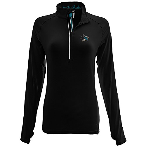 - Levelwear LEY9R NHL San Jose Sharks Adult Women Energy Banner Stripe Half Zip Mid-Layer, Large, Black
