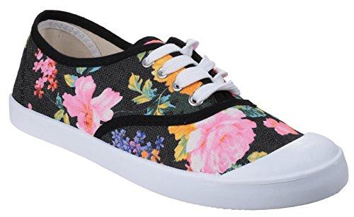 Divaz - Zapatos de lona con cordones mujer , color negro, talla 41 EU