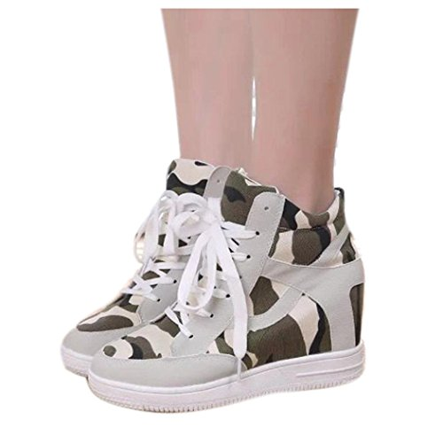 Height Ladies Womens Increased Boot Shoes Canvas Inkach Top Beige High Casual Shoes qwICxRw4