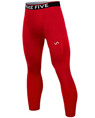 Answer Riding Apparel Red - Take Five Men's Side Pockets Cool Dry Tights UV Protection Compression Baselayer Cycling Yoga Leggings (Z810, L)