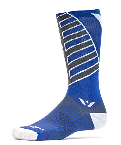 Swiftwick - VISION TEAM EIGHT, Tall Crew Socks for TEAM Sports, Royal Blue, Large