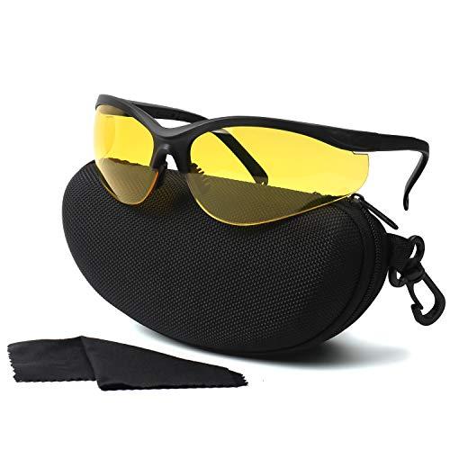 LaneTop Shooting Glasses for Men and Women, Anti Fog ANSI Z87.1 Safety Glasses with Hard Shell Case, UV400 Eye Protection for Shooting Range Glasses, Yellow Lens