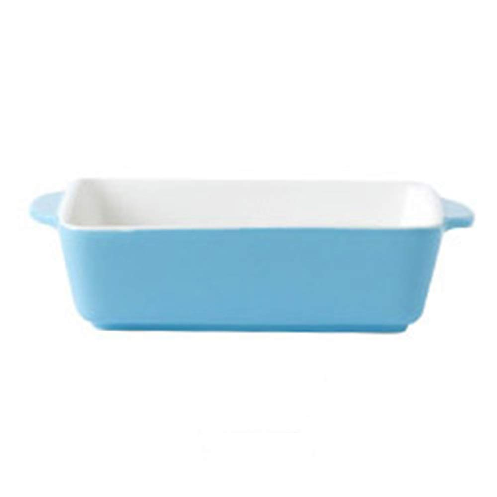 Rice Plate Baking Tray Ceramic Western Dish Oven Special Tableware Creative Dishes Home Baking Tray (color : Blue)