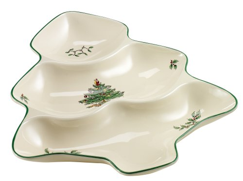 (Spode Christmas Tree Shaped 3-Sectioned Dish)