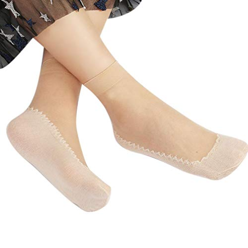 Tootu Women New Patchwork Silky Short Silk Stockings Transparent Socks (Khaki)