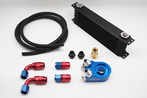 Autobahn88 Universal Oil Cooler Kit Includes: 10 Rows Oil Cooler Tank + Oil Filter Adapter + 10 Feet (3m) Nylon Braided Hose + Hose End Fitting -AN10 x4 by autobahn88