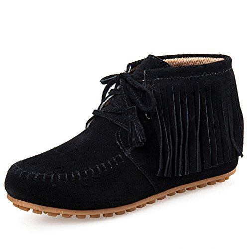 Fringe Shoes (HKR-LY2068heise40 Ankle Boots For Women Lace Up Suede Fringe Moccasins Tassel Flat Short Booties Black 8 B(M) US)
