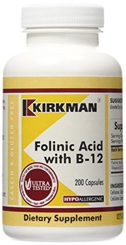 - Folinic Acid w/B-12, Hypoallergenic, 200 Capsules by Kirkman Labs