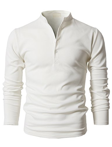 H2H Men's Casual Long Sleeve Henley Slim Fit T-Shirt Grandad Neck Top White US M/Asia L (KMTTL0467) - Grandad Neck T-shirt