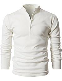 Mens Casual Henley Linen Roll-up Long Sleeve Shirts