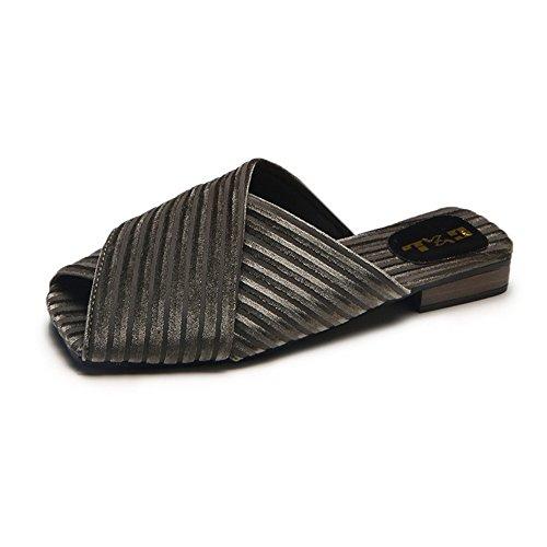 - set adil Women's Sexy Studded Mid Chunky Heels Open Toe Summer Mules Sandals(Green-35/4.5 B(M) US Women)