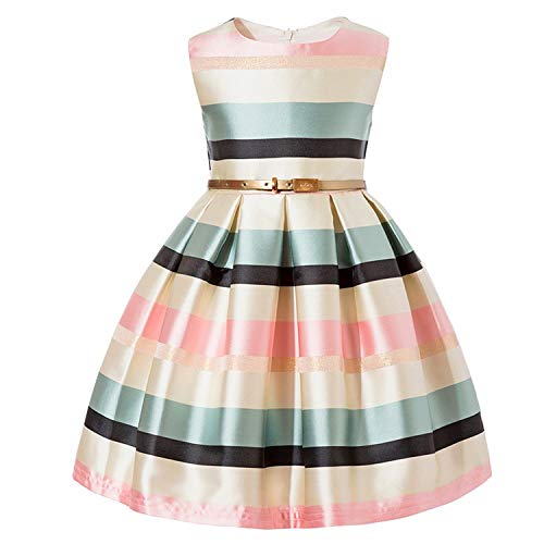Baby Girls Flower Striped Dress for Girls Formal Wedding Party Dresses Kids Princess Christmas Dress Children Girls,Pink,5 ()