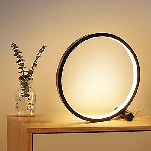 XFXDBT Nachtkastje Lamp LED-tafellamp voor slaapkamer circulaire acryl bureaulamp voor woonkamer zwart/wit dimbaar…