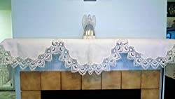 Fireplace Mantel Scarf in Antique (Winter) White European Lace, 90 inches wide Handmade by Doily Boutique