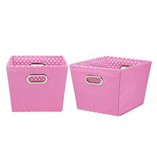 (Household Essentials 92-1 Medium Tapered Decorative Storage Bins | 2 Pack Set Cubby Baskets | Pink and White Mini-Dots)