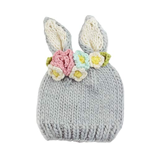 - Bunny with Flowers Hand Knit Hat (Small) Gray