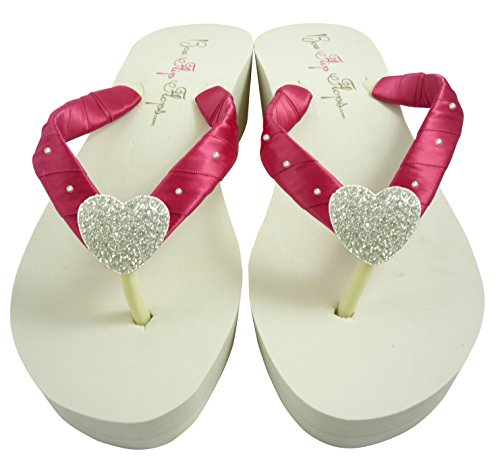 799e29b8b30615 White High Wedge Starfish Swarovski Flip Flops Womens Bridal Wedding  Platform Heel Satin - Luxury Beauty Store