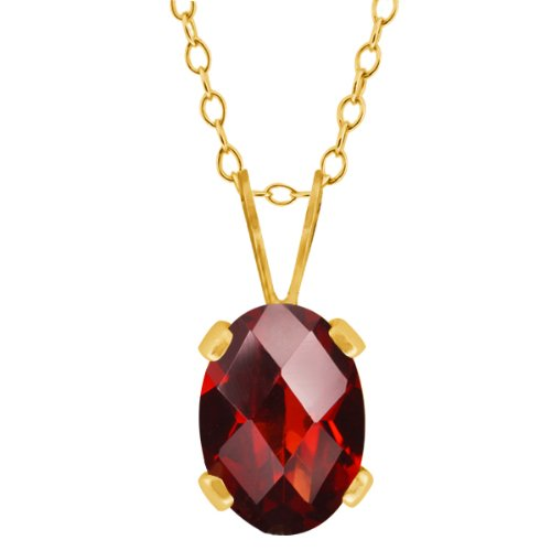 Beautiful Oval Checkerboard Shape (0.80 Ct Oval Checkerboard Shape Red Garnet Yellow Gold Plated Brass Pendant)