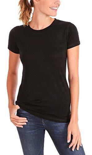 - Woolly Clothing Co. Women's Merino Wool Flex Crew Neck Tee Shirt - Ultralight - Wicking Breathable Anti-Odor M BLK