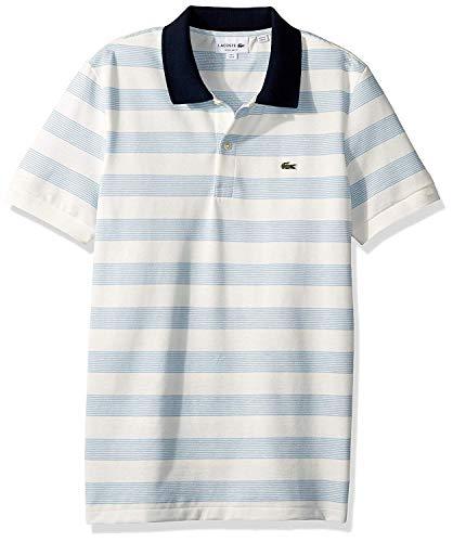Lacoste Men's S/S Polo Pique Regular FIT Striped, Navy Blue/Creek/Flour, XX-Large