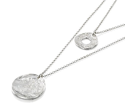 Textured Necklace Circle - Multi Layer 925 Sterling Silver Necklace With Hammered Textured Wheel & Circle Pendants, 22.5