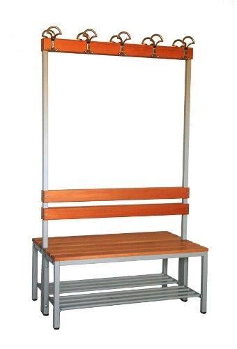 Garderoberückwand (2-seitig) + 2 x Sitzbank, HxBxT:170x100x60 cm, mit Schuhrost, Marke: Szagato (Umkleidesitzbank, Umkleidebank, Garderobenbank, Bank)