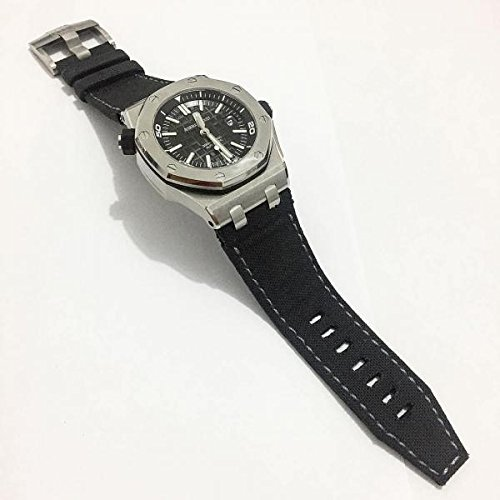 Custom Handmade Premium Calf Leather Watch Band for AP Audemars Piguet Gunny Straps - Japanese Black for AP ROO 42mm New by Gunny Store