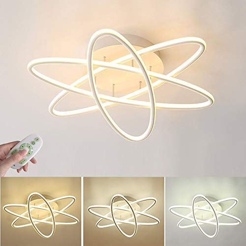 - 54W LED Ceiling Light Modern Elegant Indoor Lighting for Bedroom Living Room Dining Room Office Round Ring Design Ceiling Lamp Matte White Shade Fixture Chandelier, Dimmable with Remote Control