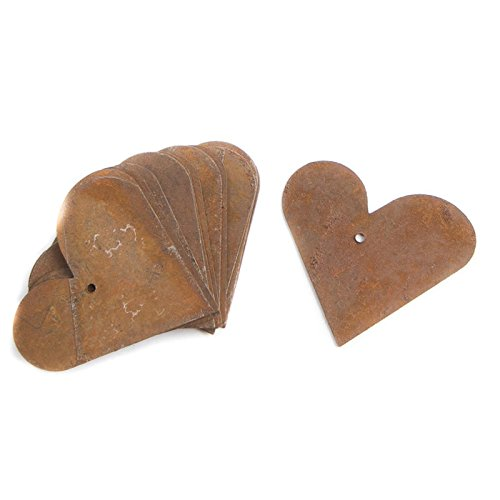 Factory Direct Craft Group of 48 Flat Back Rusted Tin Heart Cutouts with Holes f