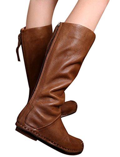 Youlee Damen Retro Zurück Zipper Lederstiefel Plattform Kniehohe Stiefel Khaki