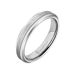 Three Keys Jewelry 4mm Women Tungsten Carbide Ring Matte Frostd Silver Polished Wedding Engagement Band Size 5-12