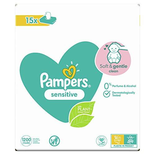 Pampers Sensitive Billendoekjes, 1200 Babydoekjes, Unieke pH Beschermende Formule, Zonder Parfum, Dermatologisch Getest…
