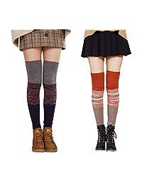 Women's Winter Knee Footless Socks Striped Multicolor Reversible Knit Leg Warmers