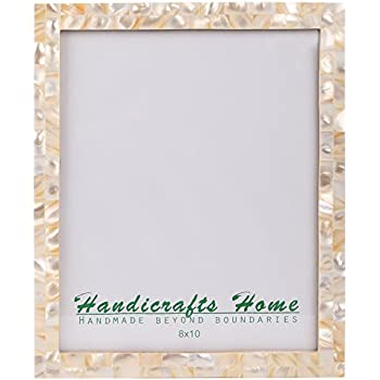 Picture Frames Chic Photo Frame Mother of Pearl Handmade Vintage 8x10 White
