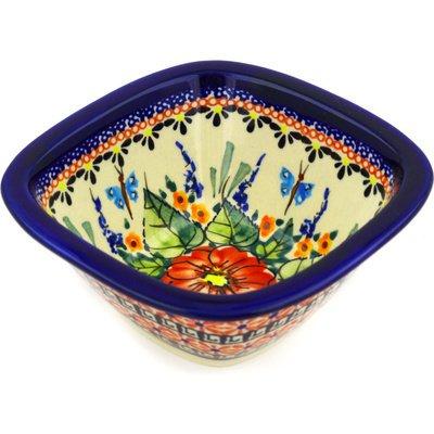 Polish Pottery Square Bowl 5-inch Spring Splendor UNIKAT