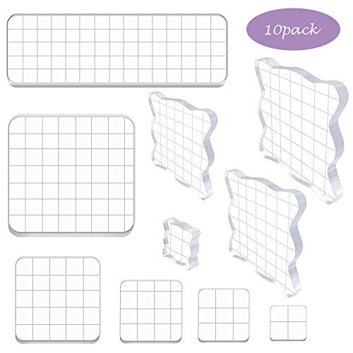Shine US 10 Pieces Stamp Blocks Acrylic Clear Stamping Blocks Tools with Grid Lines for Scrapbooking Crafts Making,Assorted Sizes